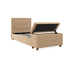 DHP Atwater Living Damia Twin Upholstered Bed with Storage Chest, Ivory, rollover