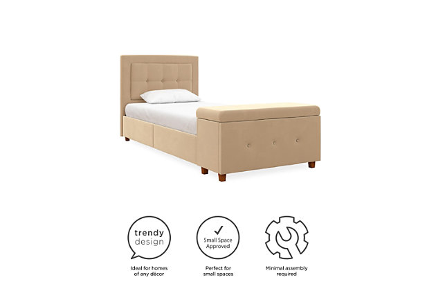 DHP Atwater Living Damia Twin Upholstered Bed with Storage Chest, Ivory, large