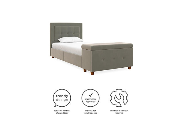 DHP Atwater Living Damia Twin Upholstered Bed with Storage Chest, Gray, large