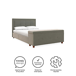 DHP Atwater Living Damia Full Upholstered Bed with Storage Chest, Gray, large