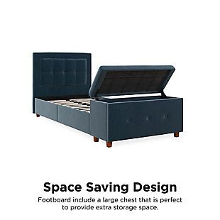 DHP Atwater Living Damia Twin Upholstered Bed with Storage Chest, Blue, rollover
