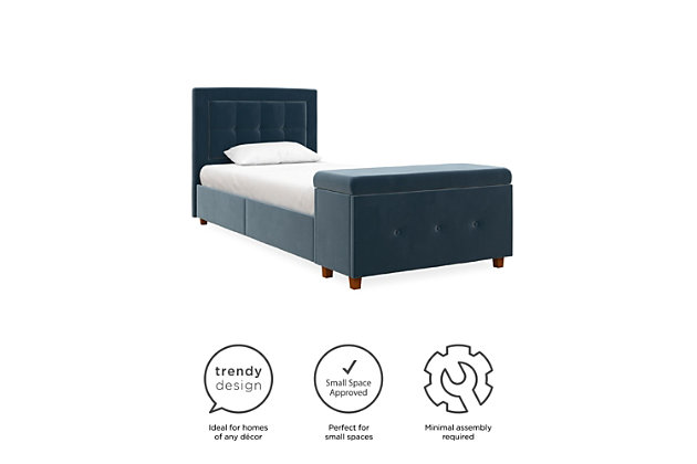 DHP Atwater Living Damia Twin Upholstered Bed with Storage Chest, Blue, large