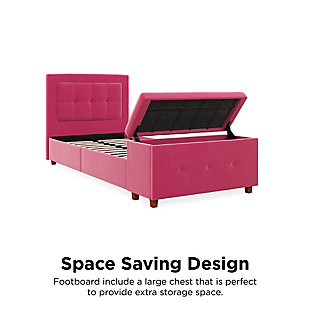 DHP Atwater Living Damia Twin Upholstered Bed with Storage Chest, Pink, rollover