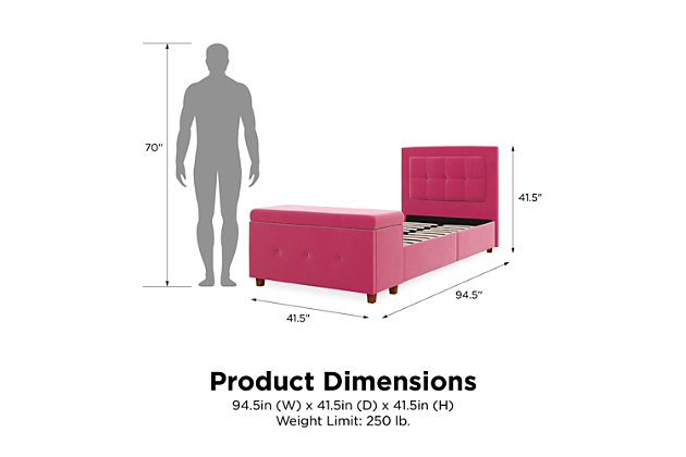 DHP Atwater Living Damia Twin Upholstered Bed with Storage Chest, Pink, large