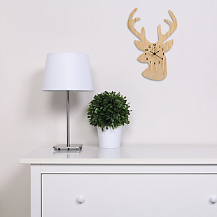 Trend Lab Bamboo Stag Head Wall Clock, , rollover