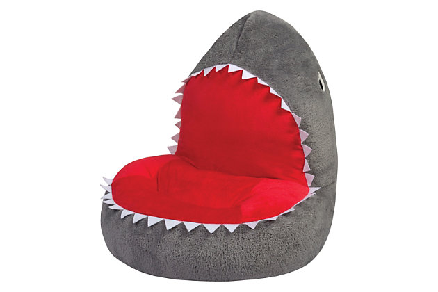 Grey Trend Lab Childrens Plush Shark Character Chair Seating Kids Ocean