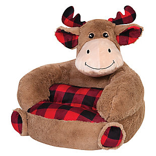 Trend Lab Children's Plush Buffalo Check Moose Character Chair, , large