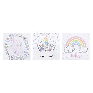 Trend Lab Rainbow Unicorns Canvas Wall Art 3 Pack, , rollover