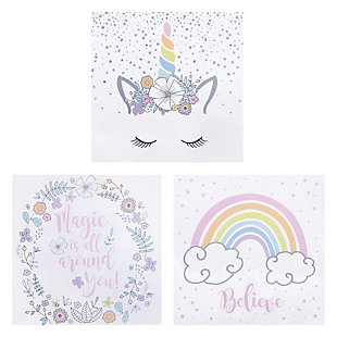 Trend Lab Rainbow Unicorns Canvas Wall Art 3 Pack, , large