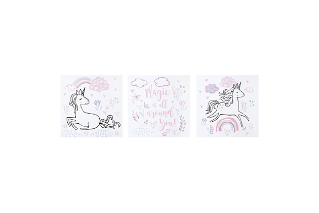 Trend Lab Magical Unicorn Canvas Wall Art 3 Pack, , large