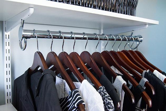 "Organized Living freedomRail® Premium Adjustable Closet Kit,  96""-100"", Chocolate Pear, large"