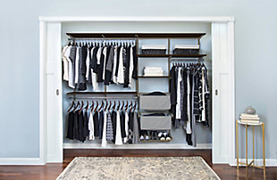 "Organized Living freedomRail® Premium Adjustable Closet Kit,  96""-100"", Chocolate Pear, rollover"