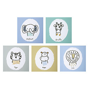 Trend Lab Safari Yearbook Canvas Wall Art 5 Pack, , large