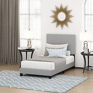 Furinno Twin Laval Button Tufted Bed Frame, Gray, rollover