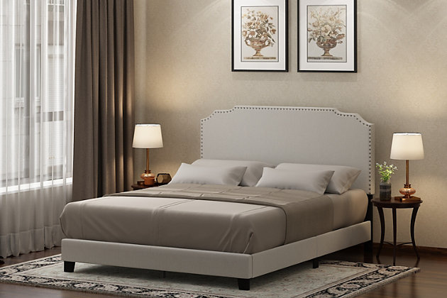 Furinno Twin Nadia Nailhead Trim Bed Frame, Beige, large