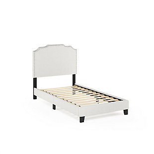Furinno Twin Nadia Nailhead Trim Bed Frame, Beige, large