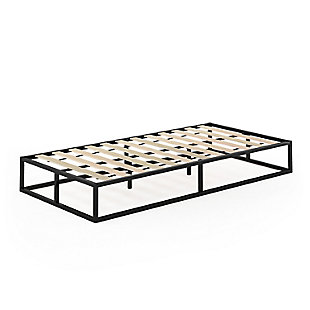 Furinno Twin Angeland Monaco Metal Bed Frame Foundation with Wooden Slats, Black, rollover