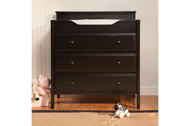 Davinci Jayden 3-Drawer Changer Dresser in Ebony, Black, large