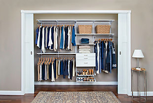 "Organized Living freedomRail® Ultimate Adjustable Closet Kit, 96""-100"", , rollover"