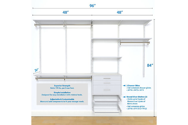 "Organized Living freedomRail® Ultimate Adjustable Closet Kit,  96""-100"", White, large"