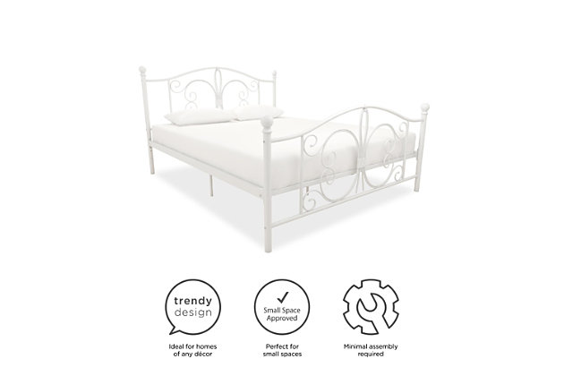 Atwater Living Bradford Queen Metal Bed, White, large