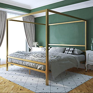 Atwater Living Cara Metal Canopy Bed King, Gold, rollover