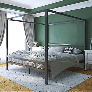 Atwater Living Cara Metal Canopy Bed King, Gray, large