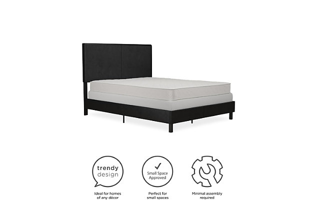 Atwater Living Jazmine Queen Upholstered Bed, Black, large