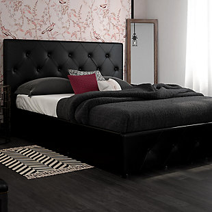 Atwater Living Dana Queen Upholstered Bed with Storage, Black, rollover