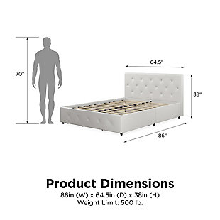 Atwater Living Dana Queen Upholstered Bed with Storage, White, large