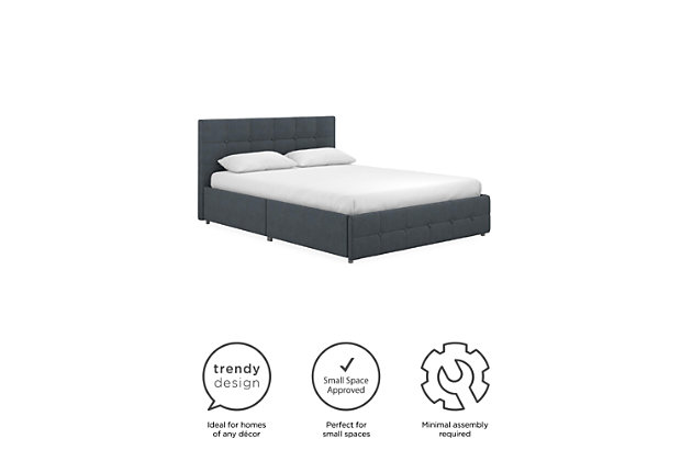 Atwater Living Ryder Queen Upholstered Bed with Storage, Blue, large