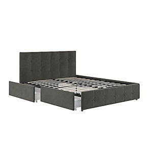 Atwater Living Ryder Queen Upholstered Bed with Storage, Gray, large