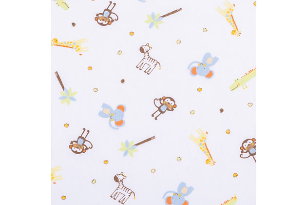 Trend Lab Jungle Fun Animals Fitted Crib Sheet, , large