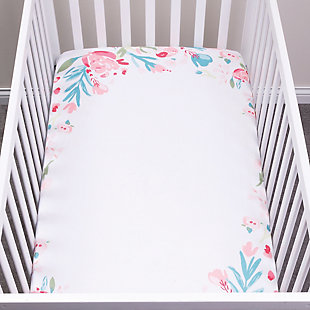 Trend Lab Painterly Floral Photo Op Fitted Crib Sheet, , large