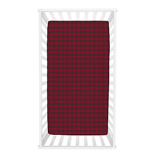 Trend Lab Brown and Red Buffalo Check Deluxe Flannel Fitted Crib Sheet, , rollover