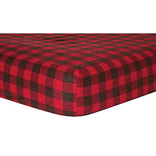 Trend Lab Brown and Red Buffalo Check Deluxe Flannel Fitted Crib Sheet, , large