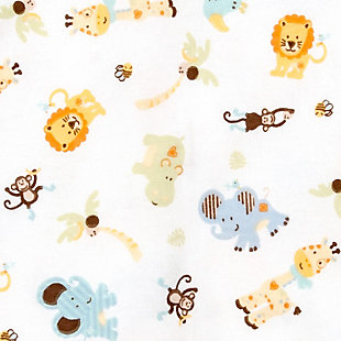 Trend Lab Jungle Friends Deluxe Flannel Fitted Crib Sheet, , large