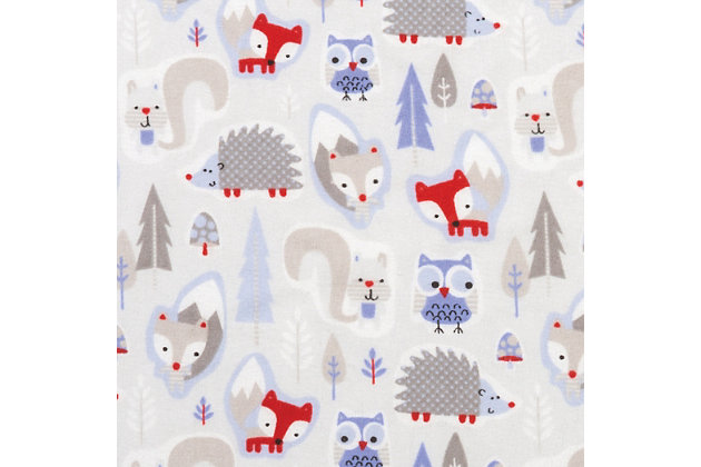 Trend Lab Lilac Winter Forest Deluxe Flannel Fitted Crib Sheet, , large