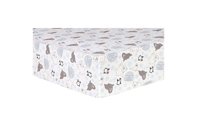 Trend Lab Igloo Friends Deluxe Flannel Fitted Crib Sheet, , large