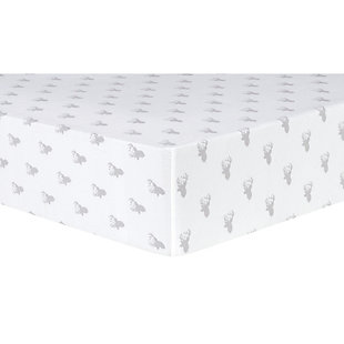 Trend Lab Gray Stag Silhouettes Deluxe Flannel Fitted Crib Sheet, , large