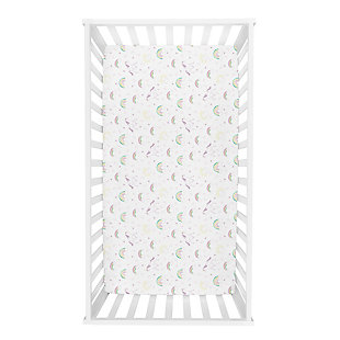 Trend Lab Unicorn Rainbow Deluxe Flannel Fitted Crib Sheet, , rollover