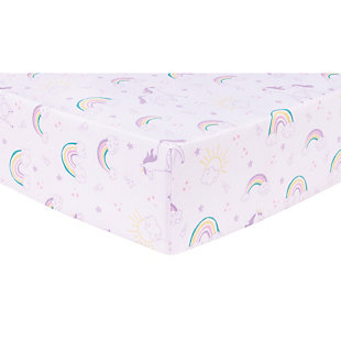 Trend Lab Unicorn Rainbow Deluxe Flannel Fitted Crib Sheet, , large