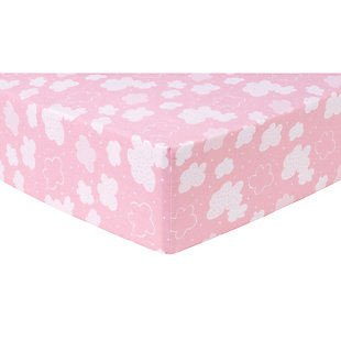 Trend Lab Pink Clouds Deluxe Flannel Fitted Crib Sheet, , large