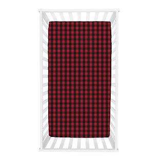 Trend Lab Buffalo Check Red/Black Flannel Fitted Crib Sheet, , rollover