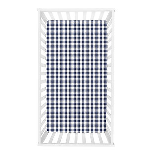 Trend Lab Buffalo Check Navy/White Flannel Fitted Crib Sheet, , rollover