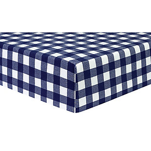 Trend Lab Buffalo Check Navy/White Flannel Fitted Crib Sheet, , large