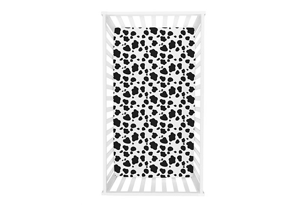 Trend Lab Cow Print Flannel Fitted Crib Sheet, , large