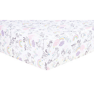 Trend Lab Unicorn Rainbow Jersey Fitted Crib Sheet, , large