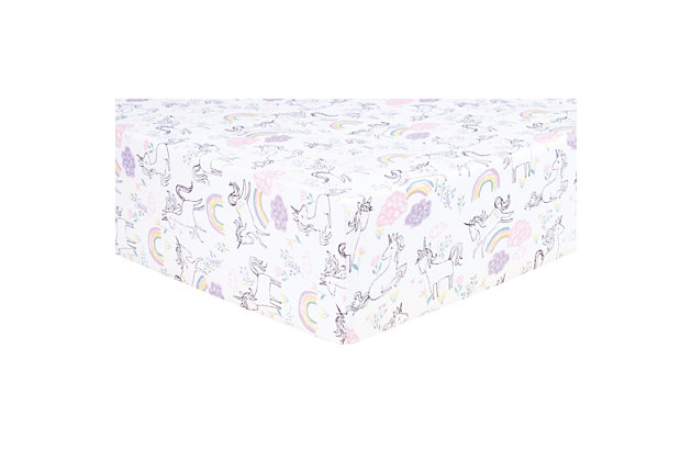 Trend Lab Unicorn Rainbow Jersey Fitted Crib Sheet, , large