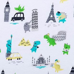 Trend Lab Dinosaur Around the World Jersey Fitted Crib Sheet, , large